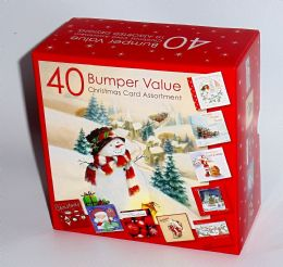 Bumper Box Of 40 Assorted Christmas Greeting Cards - Quality Card 10 New Designs